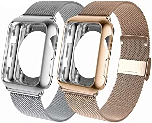 OHCBOOGIE Compatible with Apple Watch Band 38mm 40mm 42mm 44mm with Screen Protector Case, Wristband Loop Replacement Band Compatible Iwatch Series 6/SE/5/4/3/2/1,2pack