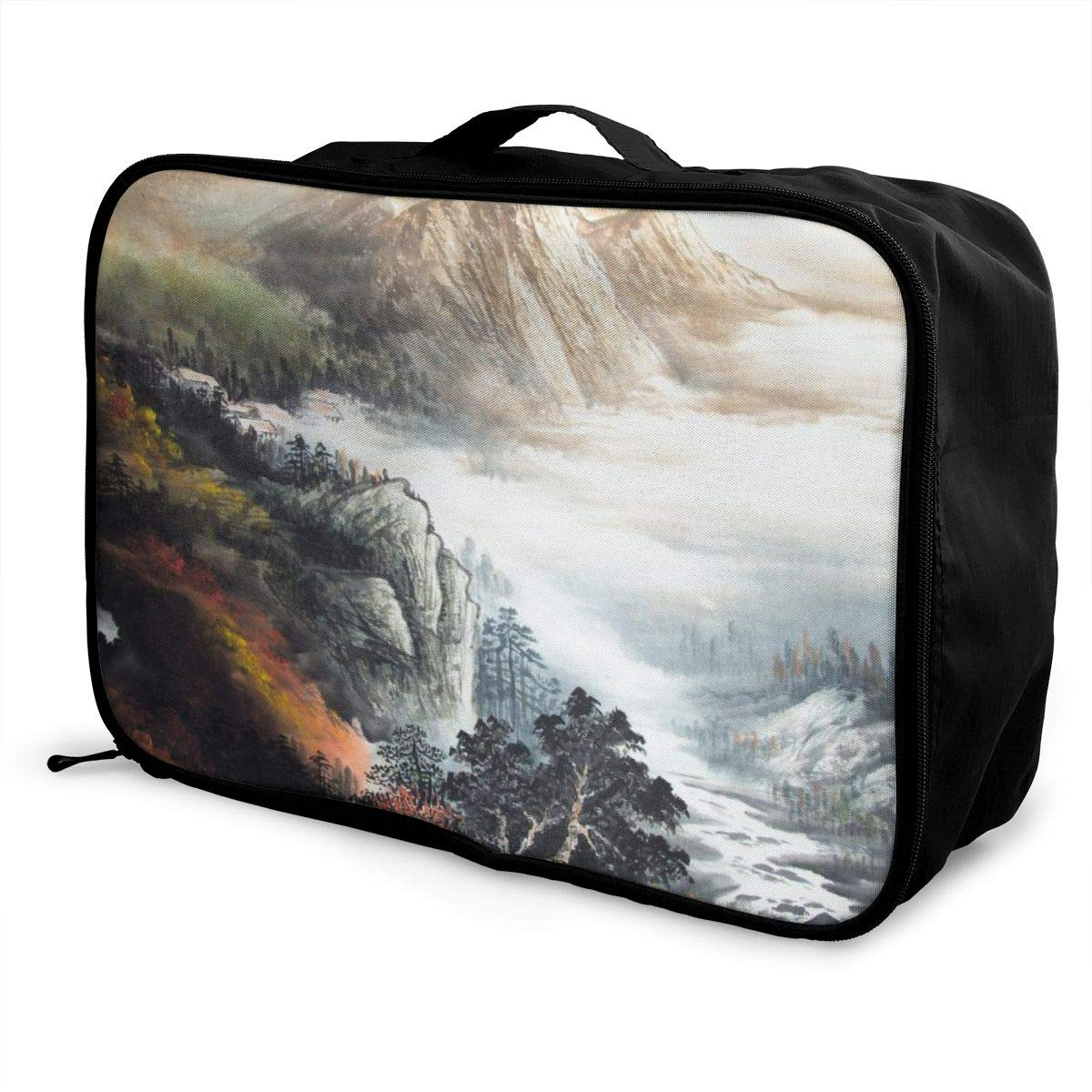 Chinoiserie Sunset Over Mountains With Waterfall Travel Lightweight Waterproof Folding Storage Portable Luggage Duffle Tote Bag Large Capacity In Trolley Handle Bags 6x11x15 Inch
