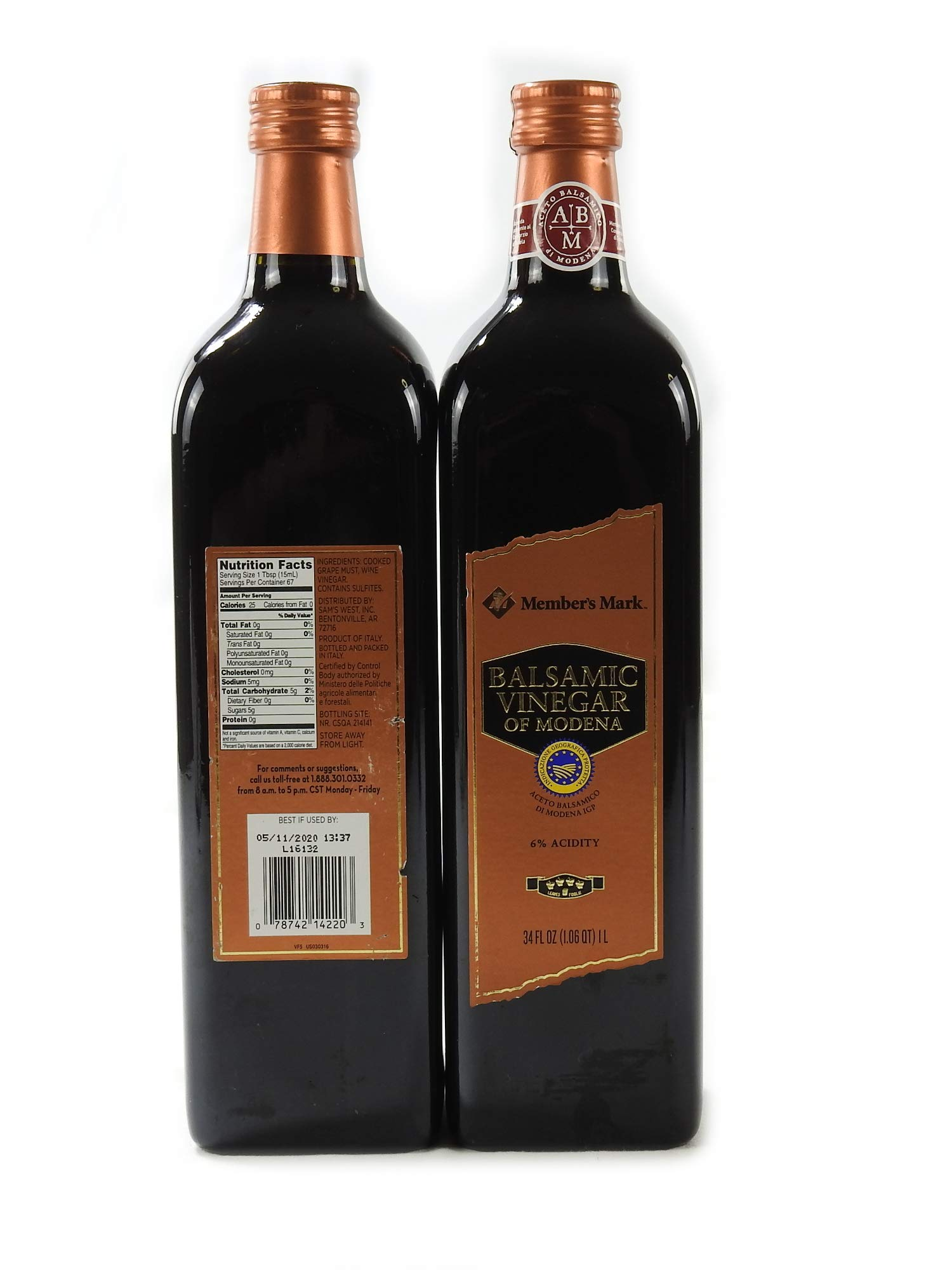 Member's Mark Balsamic Vinegar of Modena Bottle, (34 oz. 1L) - Pack of 4 2 Member's Mark Balsamic Vinegar of Modena Bottle Pack of 4 - Glass Bottles (Expiration 2020) Net Weight Per Bottle: 34 Fluid Ounces