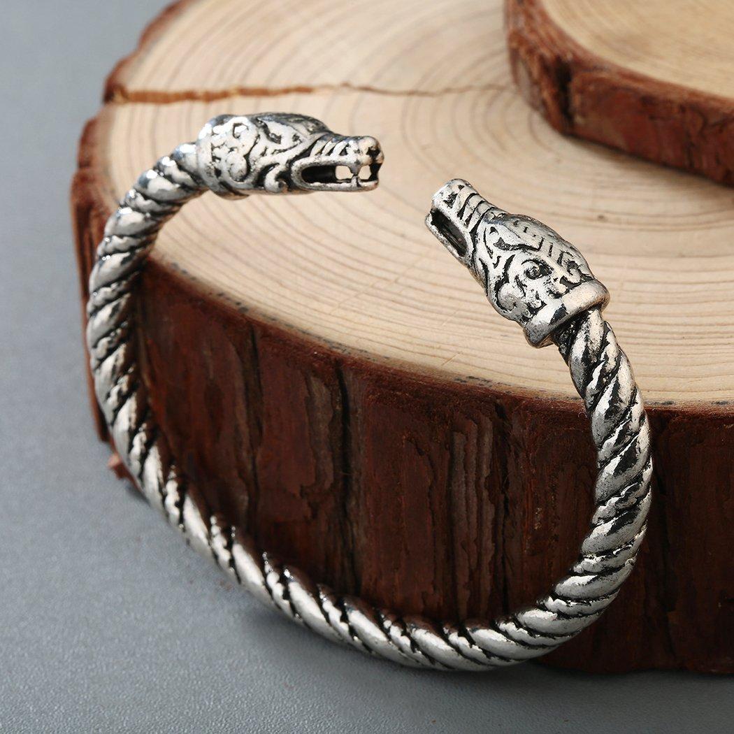Qiandi Norse Viking Double Dragon Head Twisted Bangle Cuff Bracelet Arm Ring Pagan Jewelry