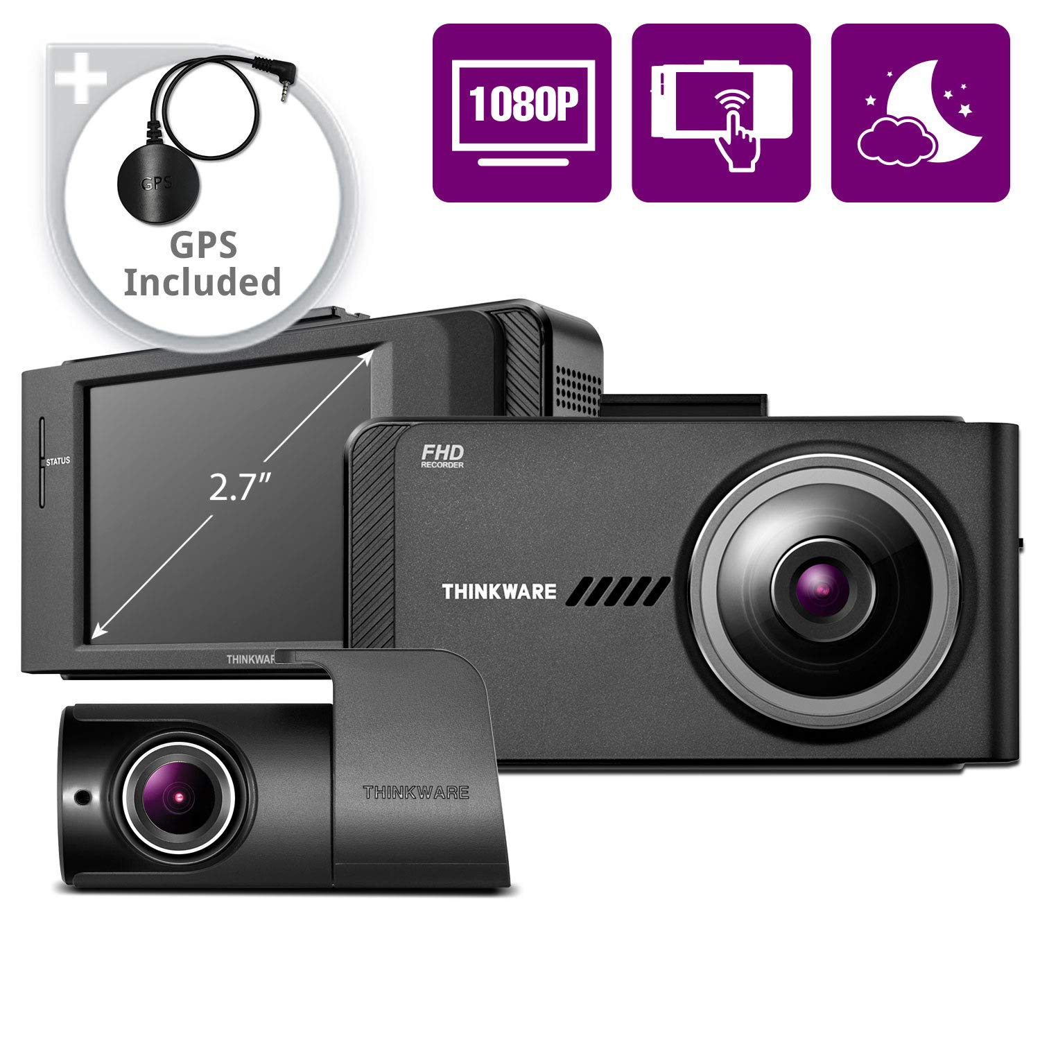 THINKWARE X700 Dual Dash Cam Front and Rear Camera for Cars, 1080P FHD, Dashboard Camera Recorder with G-Sensor, Car Camera w/Sony Sensor, GPS, WiFi, Night Vision, 32GB, Optional Parking Mode