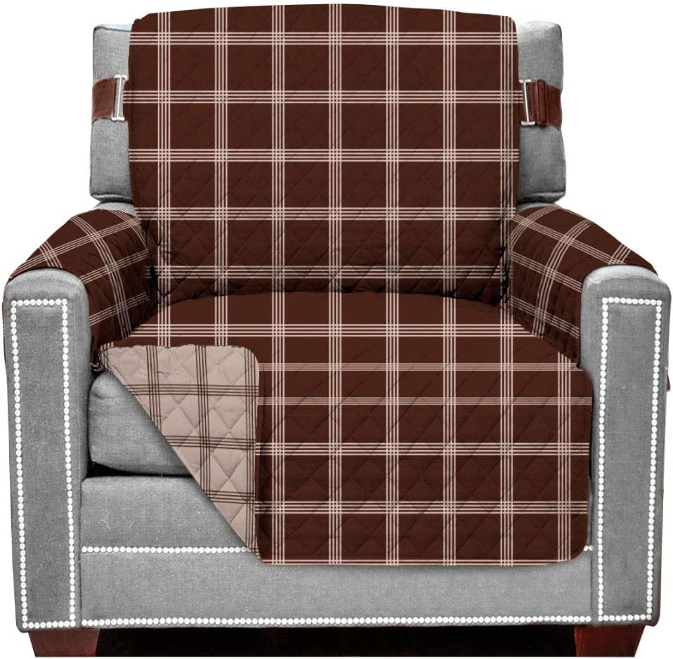 Sofa Shield Original Patent Pending Reversible Chair Protector, Many Colors, Seat Width to 48 Inch, Furniture Slipcover, 2 Inch Strap, Chairs Slip Cover Throw for Pet Dogs, Cats, Plaid Chocolate Beige