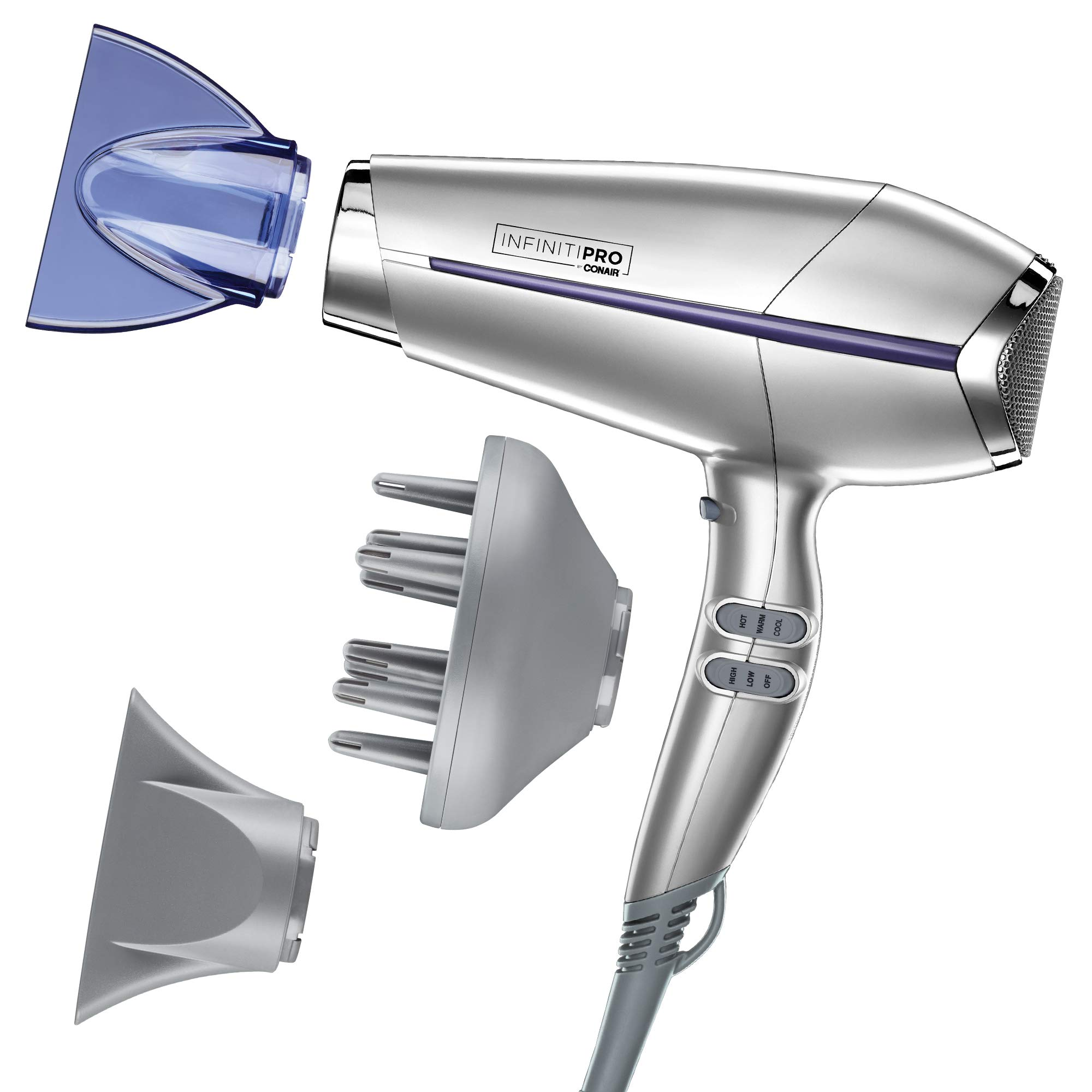Conair INFINITIPRO BY CONAIR Pro Performance Frizz Free Hair Dryer, Silver