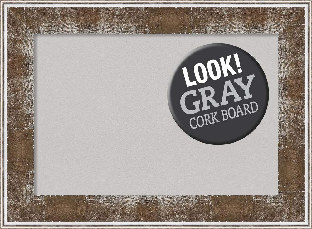 Amanti Art Grey Cork Farmhouse Brown Framed Bulletin Boards