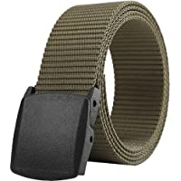 """Belts for Men,Nylon Webbing Canvas Belt with YKK Plastic Buckle, Durable Breathable Fabric Waist Belt for Work Outdoor Golf Hiking Skiing,Adjustable for Pants Size Below 46inches[53""""Long1.5""""Wide]"""