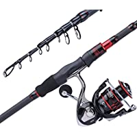 Sougayilang Fishing Rod and Reel Combos, Freshwater Spinning Combos Telescopic Spinning Fishing Rod and 13+1BB Corrosion…