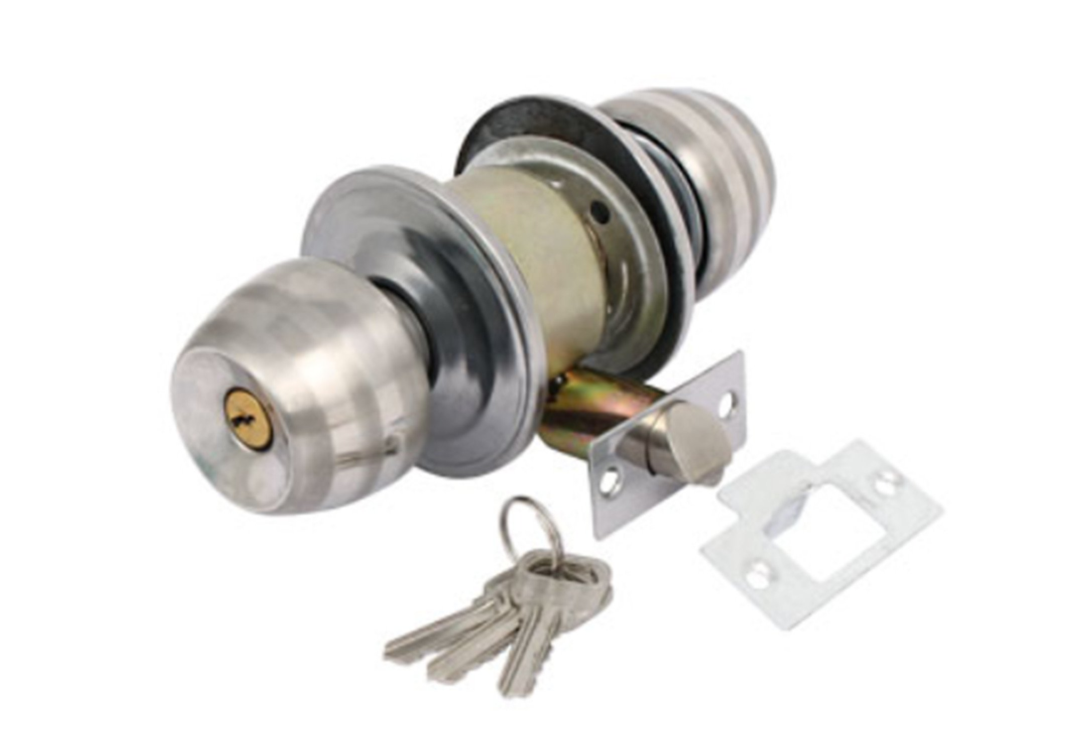 Home Bedroom Door Gate Metal Security Round Knob Lock Lockset w Keys by DCS
