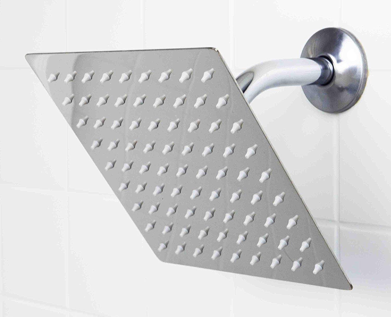 Rain Shower Head 8'' High Pressure Waterfall - Made of FULL Stainless Steel - Square Rainfall Chrome Modern Showerhead