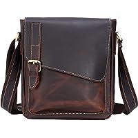 TIDING Full Grain Leather Messenger Shoulder Bag for Men Retro Crossbody Bag Fits 10 Inch Tablet