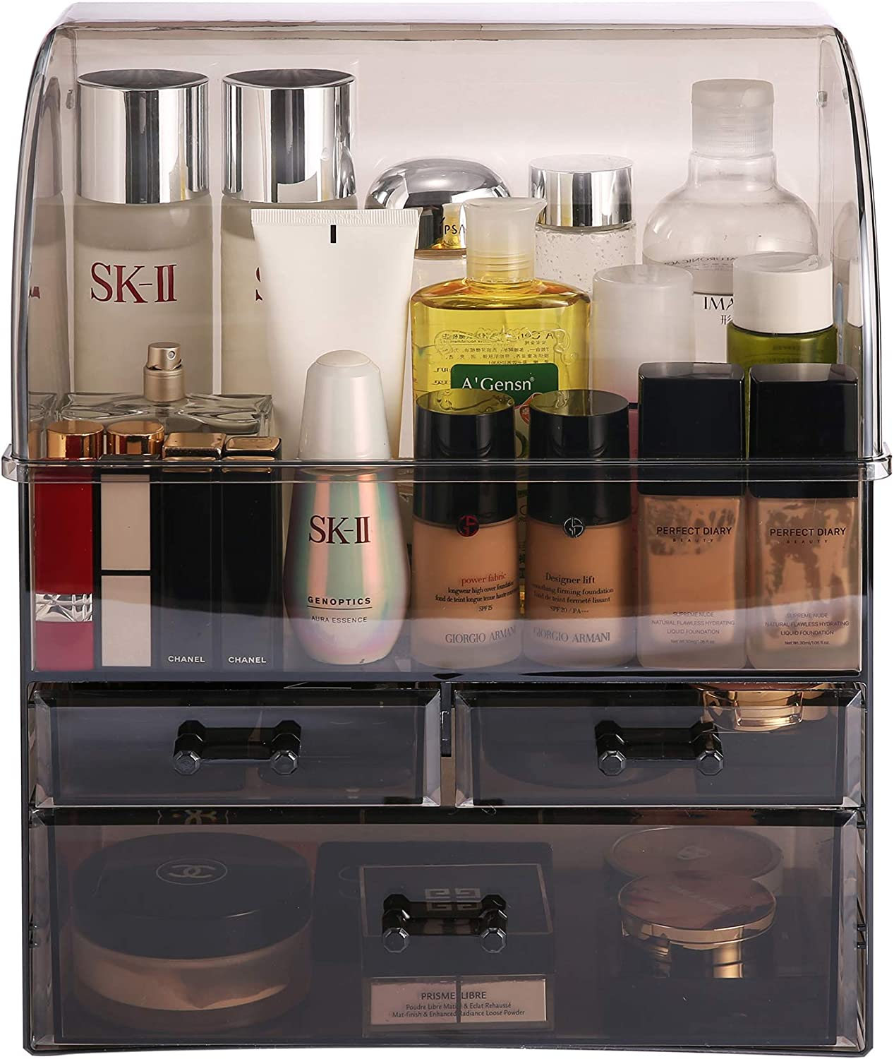 MOOCHI Translucent Black Professional Large Cosmetic Makeup Organizer Dust Water Proof Cosmetics Storage Display Case with Drawers Portable For Brushes Lipsticks Jewelry