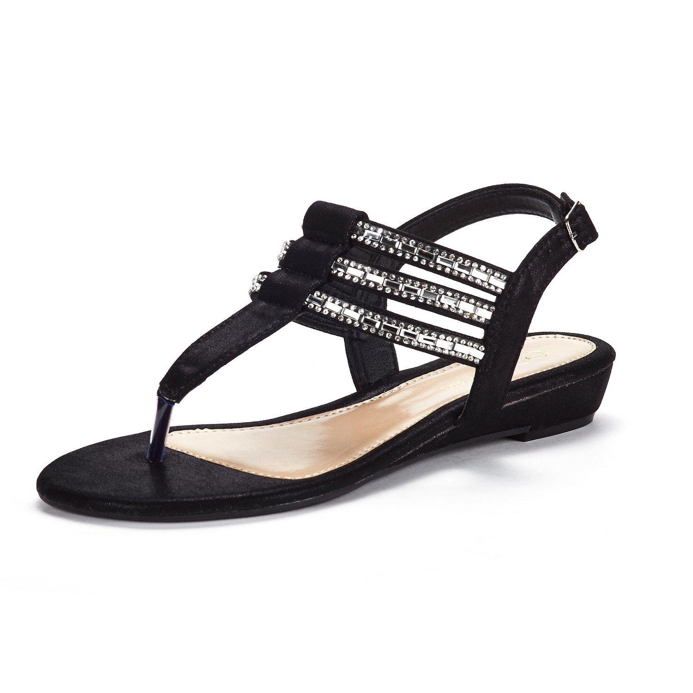 DREAM PAIRS Women's Estelle_W Black Fashion Rhinestones Low Wedge Sandals Size 11 M US