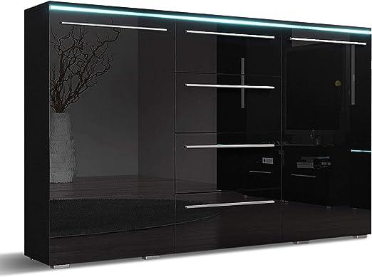 Mirjan24 Kommode Sideboard Bergamo mit 4 Schubladen, Highboard, Anrichte,  Mehrzweckschrank, Wohnzimmerschrank, Schrank, Wohnzimmer (ohne Beleuchtung,  ...