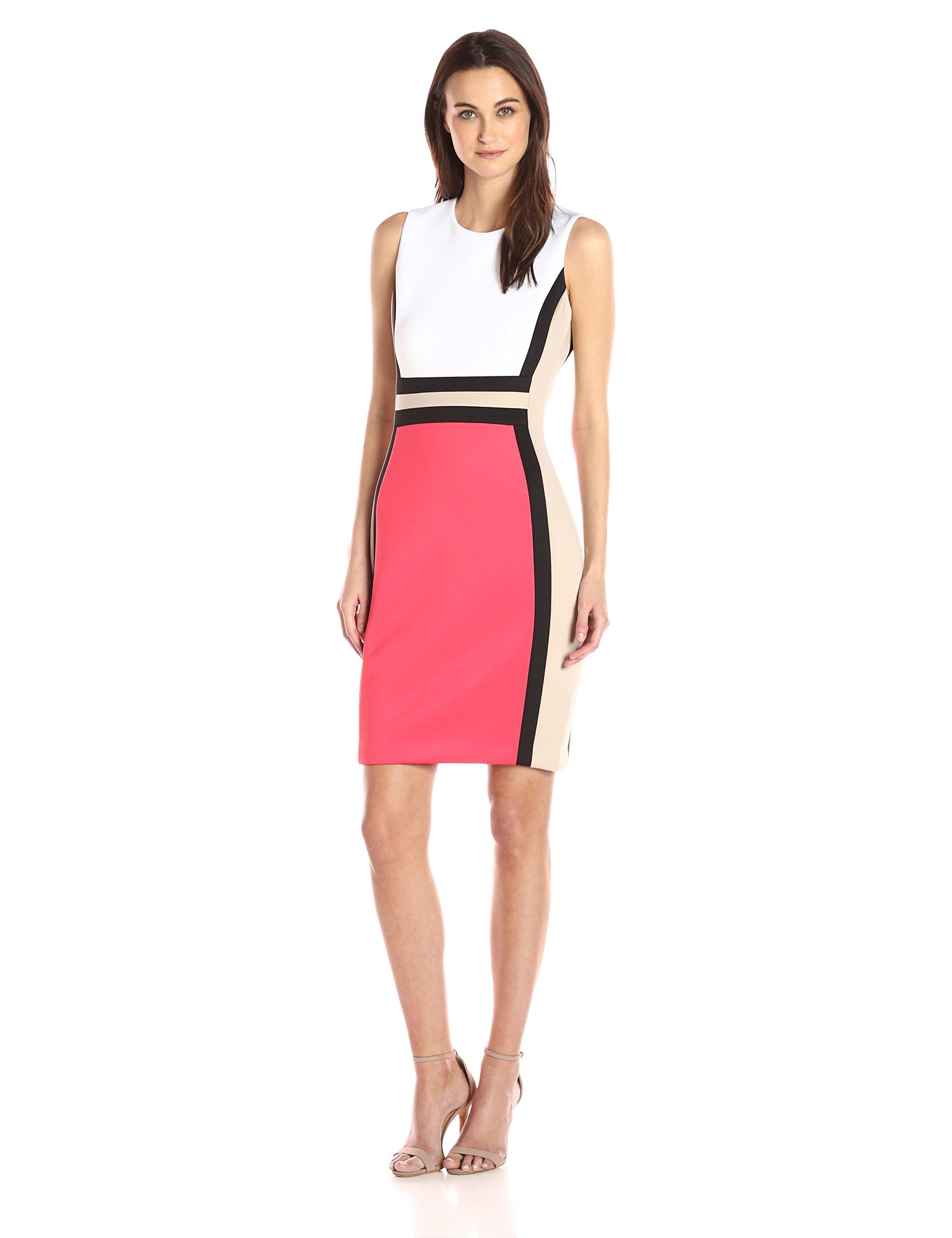 Calvin Klein Women's Sleeveless Color Block Sheath Dress, White/Waterrmelon Multi, 6