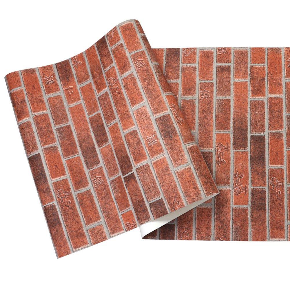 Amazon.com: 3d rojo papel pintado, diseño de ladrillos ...