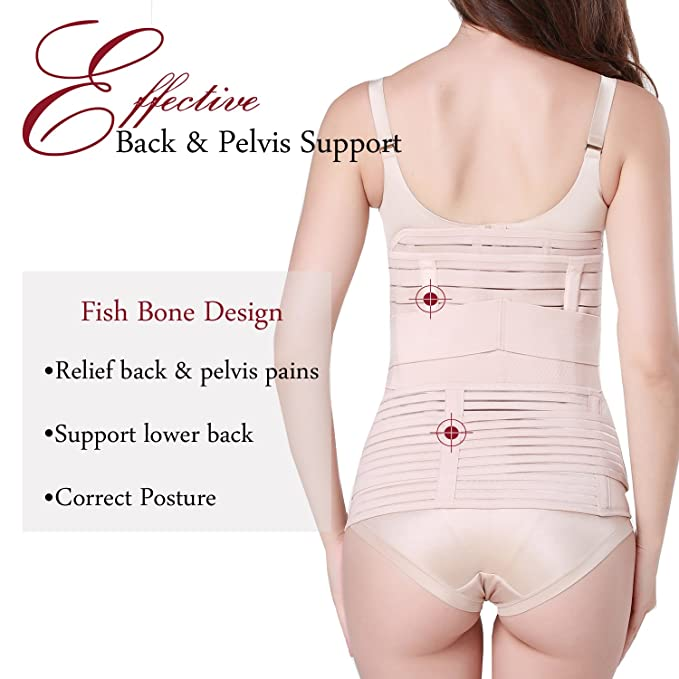 b061ec608e TiRain 3 in 1 Postpartum Support - Recovery Belly Waist Pelvis Belt  Shapewear at Amazon Women s Clothing store