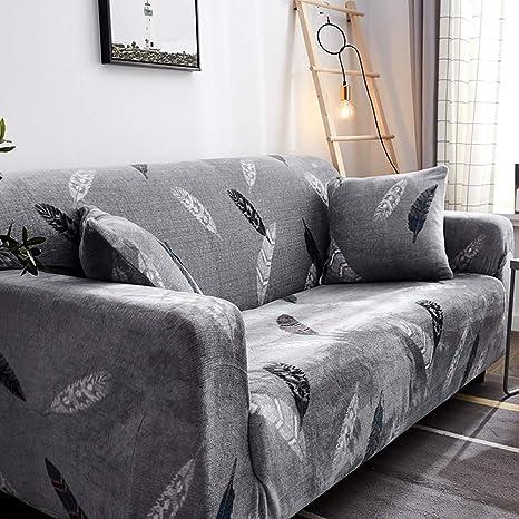 D&LE Funda de sofá Cubre 1 2 3 4 Plazas Color Puro Felpa Protector de sofá Terciopelo Fácil Ajuste elástico Tela Stretch Protector para sofás-E 3 ...