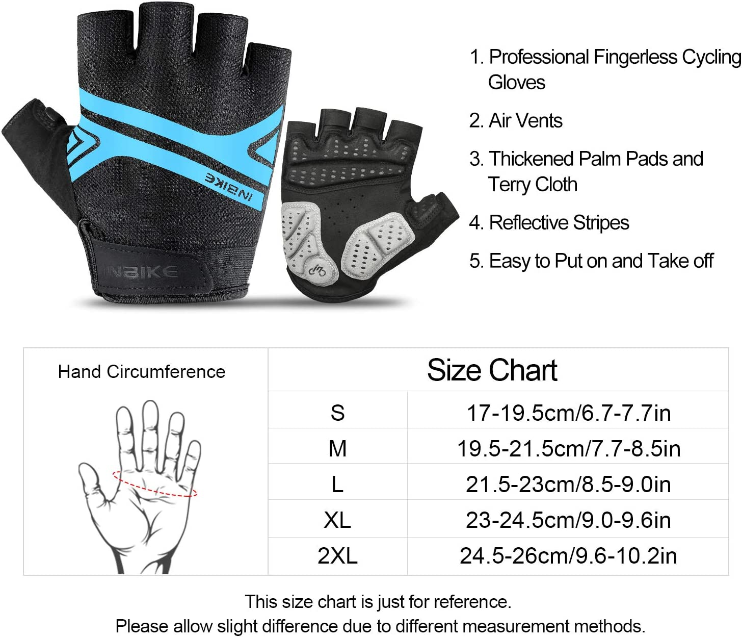 Night Reflective 5mm Thick Pad Shockproof Breathable Palm Protection Mountain MTB DH Road Riding Cycling Gloves Men Women INBIKE Bike Gloves