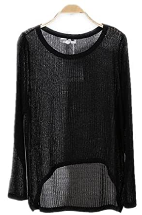 f600e9037004cf Alinfu Women s Casual Thin See Through Unbalance Knit Pullover Batwing  Blouse Tops (Small