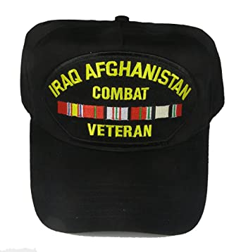 cd695098 Amazon.com: IRAQ AFGHANISTAN COMBAT VETERAN WITH RIBBONS HAT - Black ...