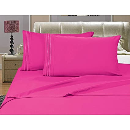 MISC 4pc Fuschia Pink King Sheet Set, Microfiber, Deep Pocket Bedding  Embroidered Stripe Comfortable