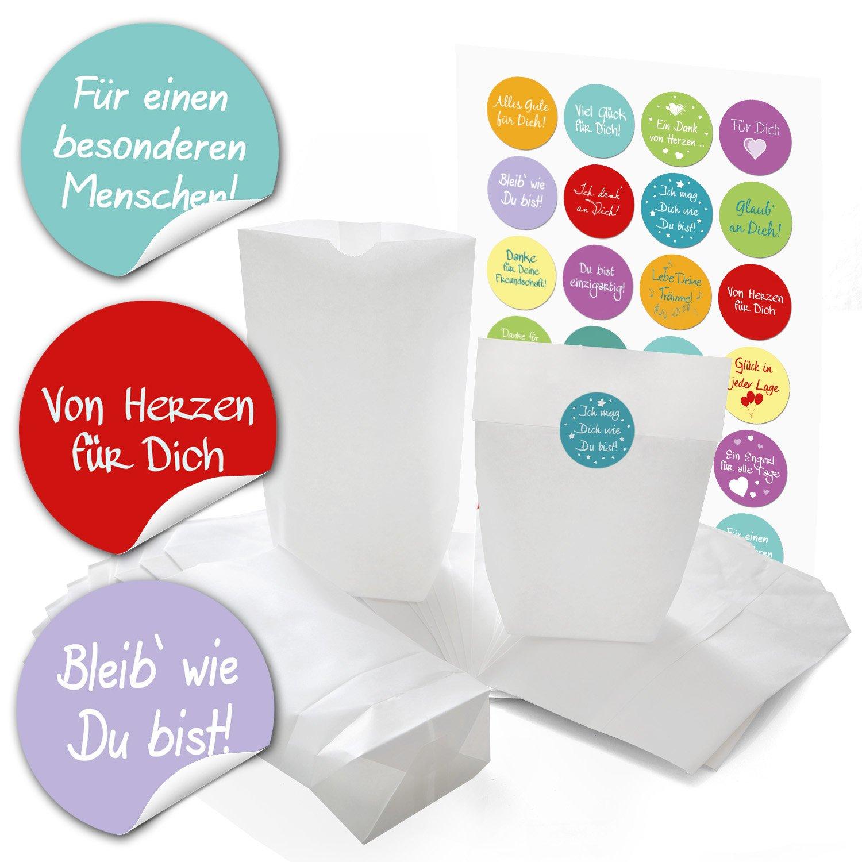 96piccola bianca carta sacchetti Sacchetti di carta con pavimento (14x 22x 5,6cm) e 96adesivi rotondi con Lustigen Frasi zum liebenvollen verpacken di regali e altre cose