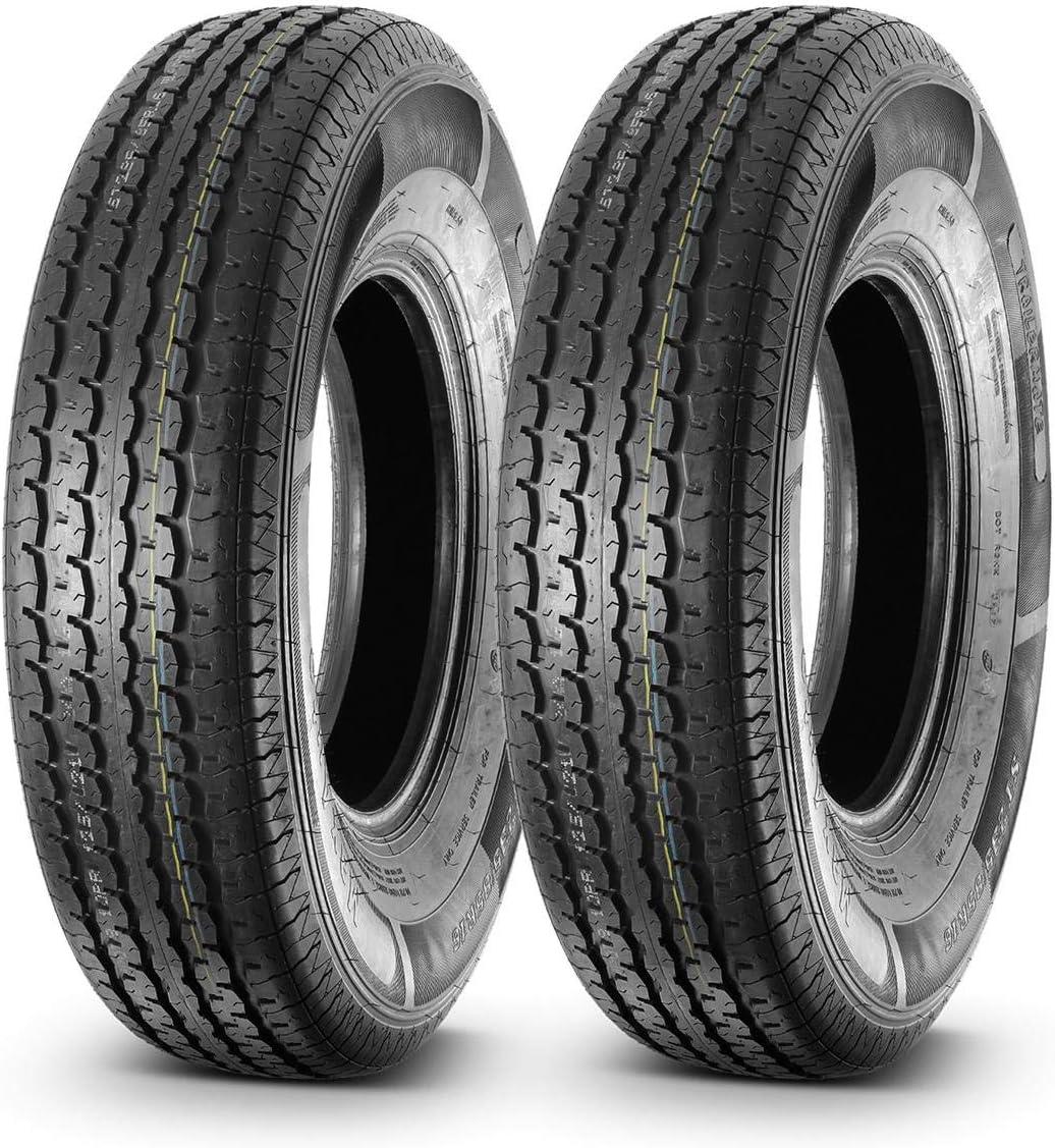 Set of 2 MaxAuto ST235/85R16 Trailer Tires Radial 10 Ply rated, Load Range E Premium Nylon Cap Ply