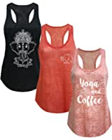Tough Cookie's Women's Burnout Elephant Lotus Small Yoga Coffee Tank Top 3 Pack