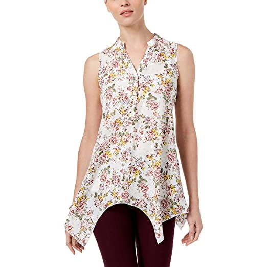 7031bd4200d Amazon.com  Spence Womens Floral Print Sleeveless Henley Top Ivory ...