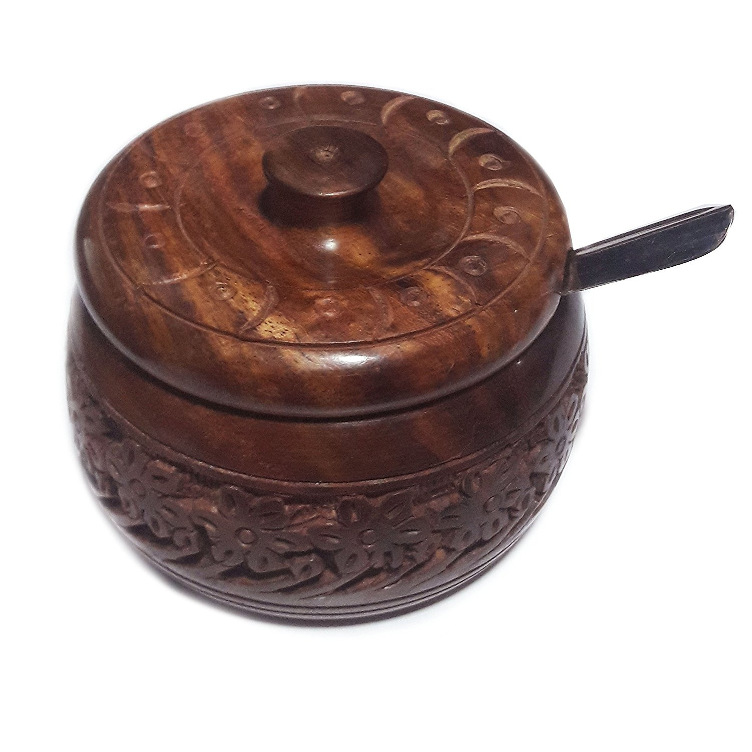 Xmas present, Spice Storage Containers, Wooden Jar Suger With Steel Bowl and Spoon, Storage For Spices, Brown Color Size 4 X 2.5 Inch
