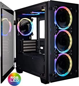 CUK Micro Stratos mATX Gaming Desktop Case with Tempered Glass Door (6 Addressable RGB Halo Fans Pre-Installed, Remote Controller, Motherboard Sync)