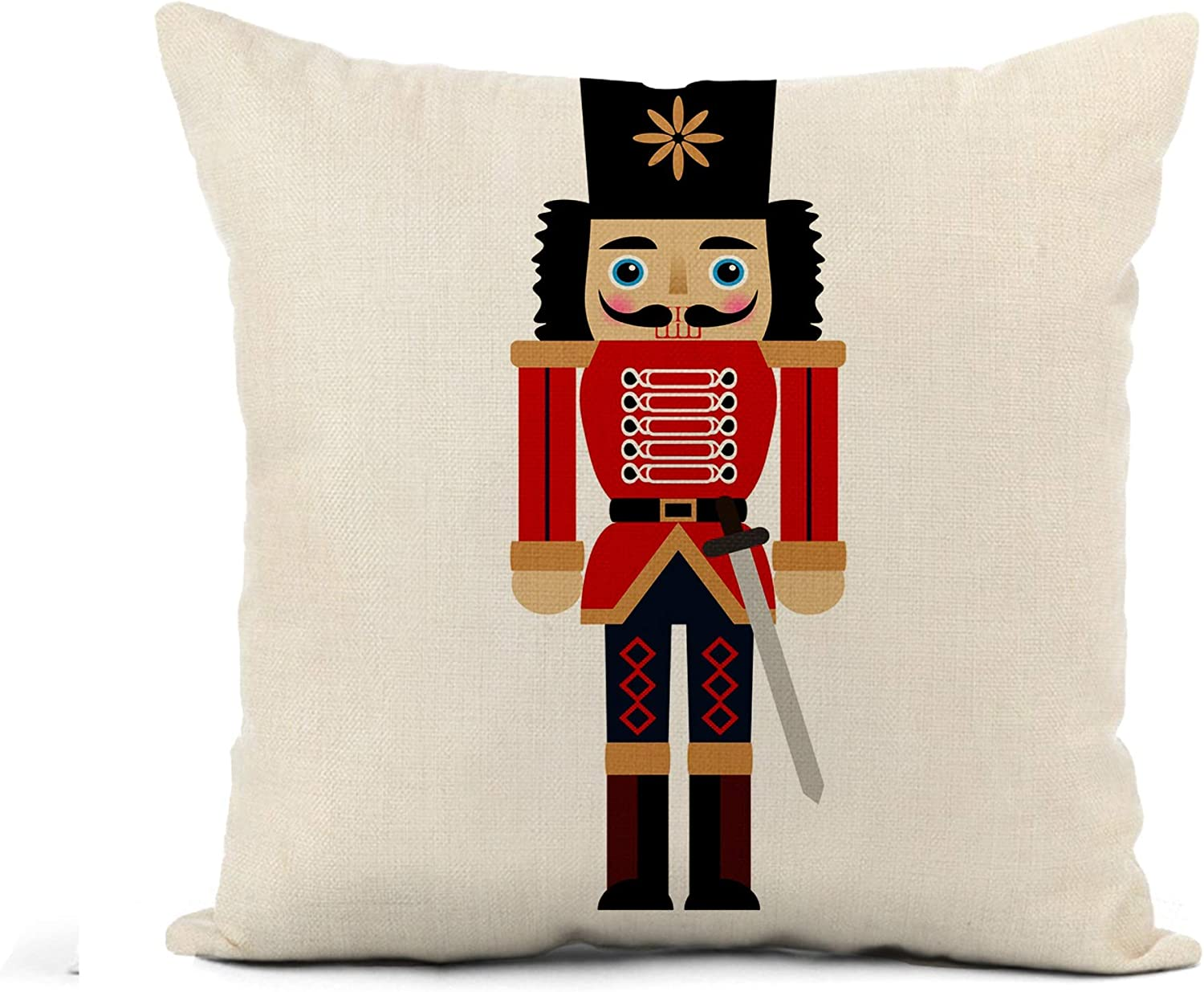 Awowee Flax Throw Pillow Cover Ballet of Nutcracker Sword Christmas Greeting Holiday Merry Retro 18x18 Inches Pillowcase Home Decor Square Cotton Linen Pillow Case Cushion Cover