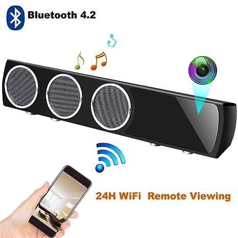 Altavoz Bluetooth IP con Cámara Espía Wifi Oculta Inalámbrica HD1080P, Rango de 160 Grados Visión
