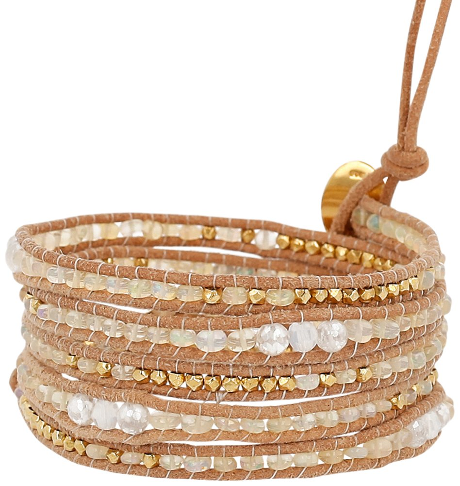 Chan Luu Opal Mystic Mix of Semi Precious Stones, Crystals and Nuggets Tan Leather Wrap Bracelet by Chan Luu