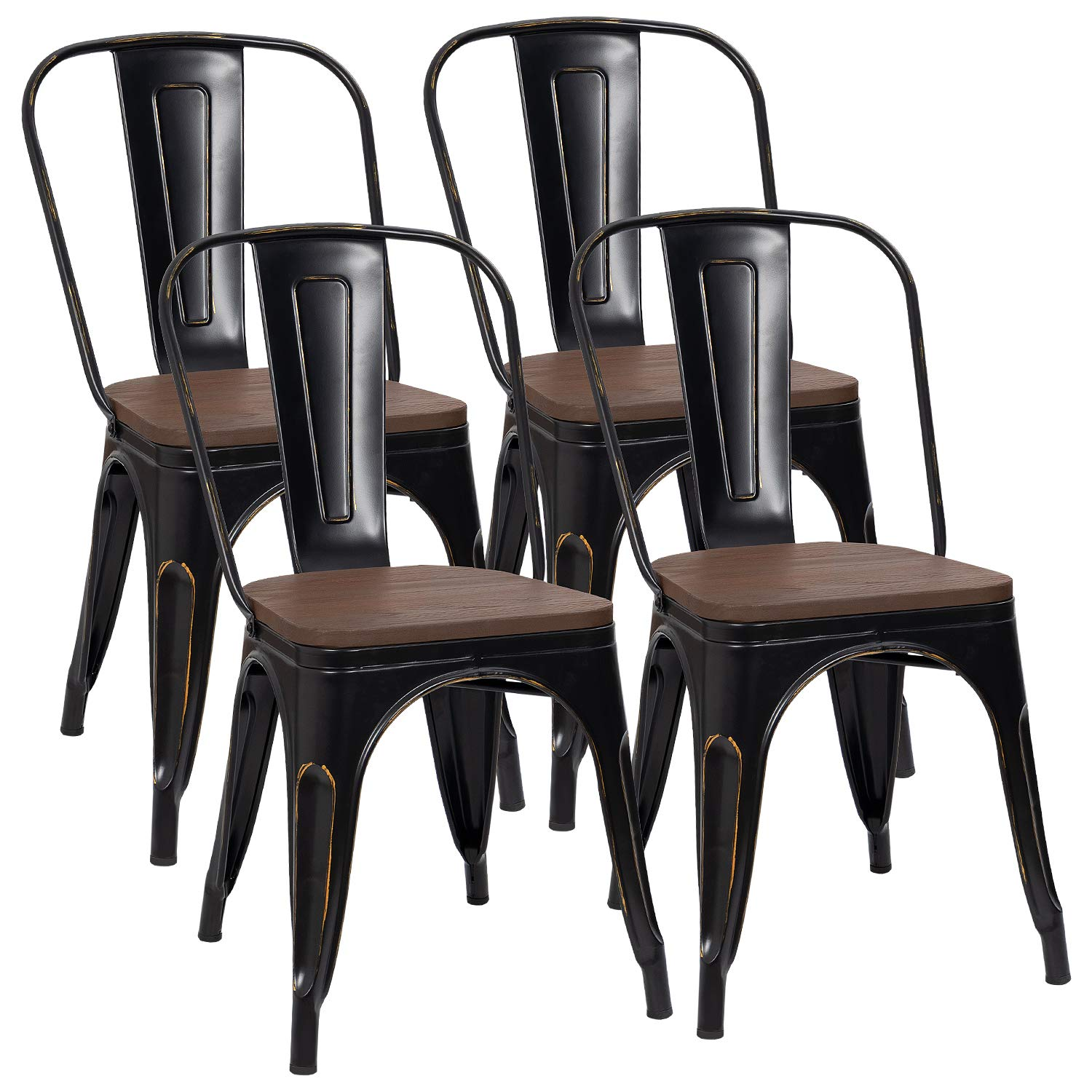 Furmax Metal Dining Chair with Wood Seat,Indoor-Outdoor Use Stackable Chic Dining Bistro Cafe Side Metal Chairs (Set of 4) (Black Golden)