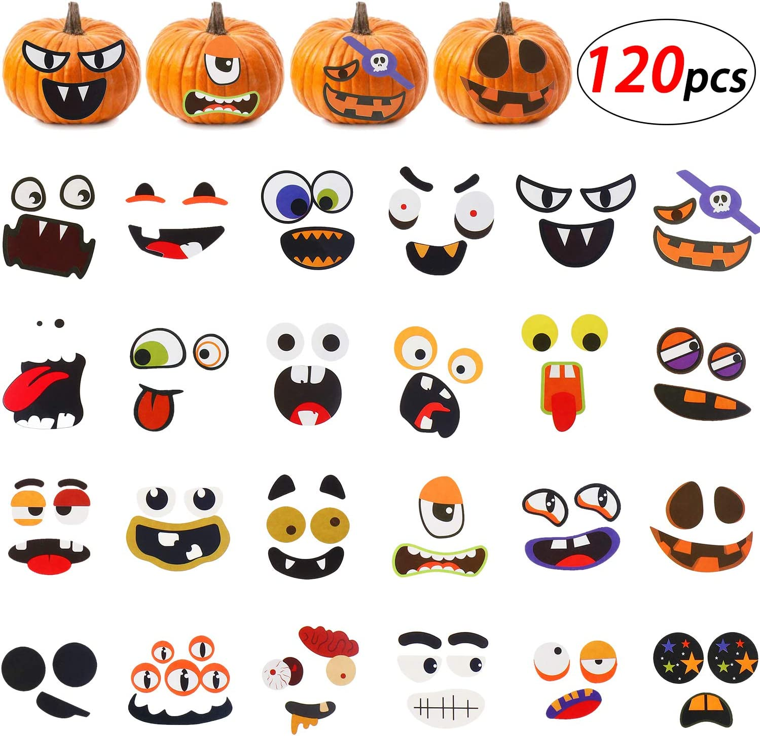 Pumpkin Emoji Craft Kit for kids Children Large Self Adhesive 3D Pumpkin Face Decorating Stickers Craft for Parties Activities-16 Pack Halloween Foam Pumpkin Decoration Stickers Craft Kit