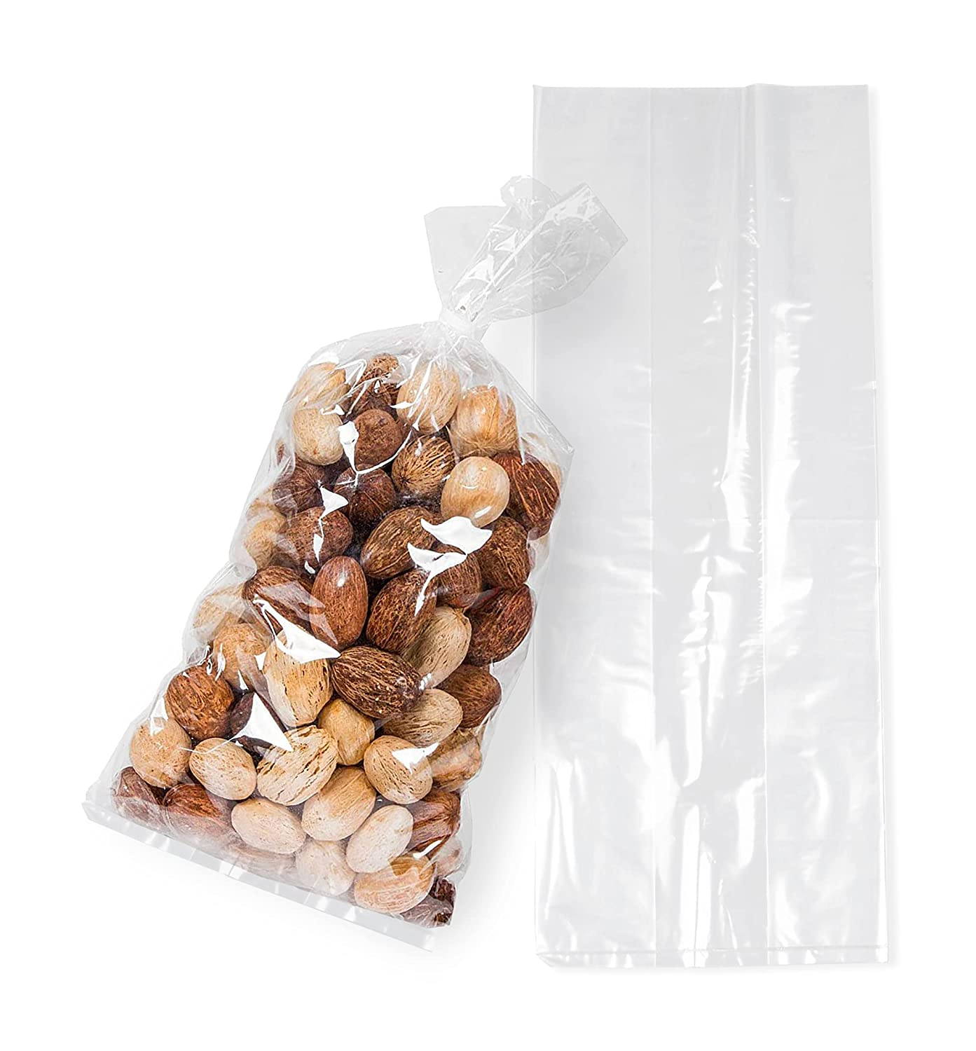 APQ Pack of 50 Gusseted Poly Bags 4 x 2 x 10. Cloudy Polyethylene Bags 4x2x10. Thickness 2 Mil. Expandable Side Gusset Bags. Open Ended Bags for Industrial, Food Service, Health Needs.
