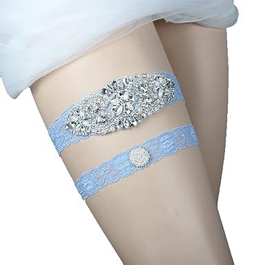 e64d8368bc3 Prettybabyonline Wedding Garters Belt Set For Bride Bridal Garter Plus Size  Blue Lace Rhinestones (M