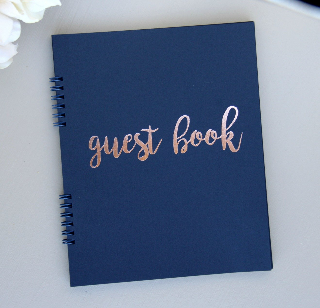 Navy Guest Book for Wedding, Bridal Shower Guest Book Polaroid Pictures, Birthday Guestbook Rose Gold Foil Softcover, 9.5''x7.25'' 130 Navy Pgs Wedding Guestbook Polaroid, Rose Gold Baby Shower (Navy)