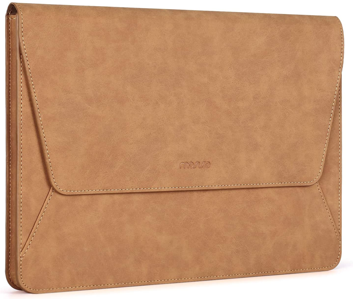 MOSISO Laptop Sleeve Compatible with 2020-2018 MacBook Air 13 A2179/A1932, 2020-2016 MacBook Pro 13 A2251 A2289 A2159/A1989/A1706/A1708, PU Leather Ultra Slim Flap Style Protective Case, Brown