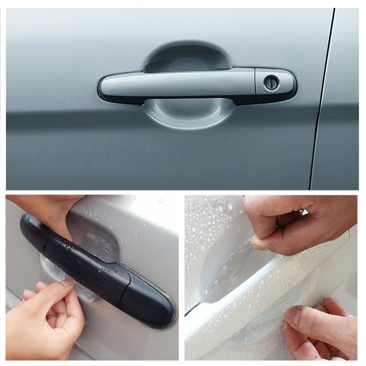 Set of 8 Invisible Auto Door Handle Stickers Scratches Resistant Protective Protector Films Fits Universal Car IEFIEL 10049261-US