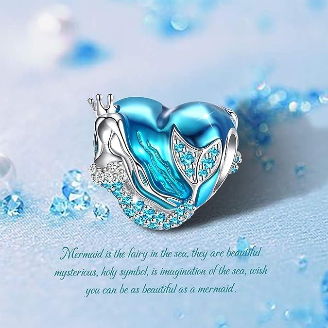 c42f84397 Amazon.com: Mermaid Charms fit Pandora Charms Bracelet, 925 Sterling Silver  Charms Bead CZ Heart Shape Blue Enamel Bead Ocean Sea Charm for European  Snake ...