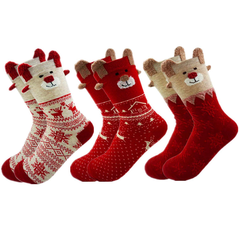 US sizes 4-8 3 Pairs Crew Socks Cotton Warm Gift Socks Christmas Reindeer Socks