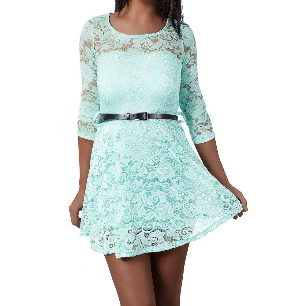 Diva-Jeans H921 Damen Kleid Kleider Cocktailkleid Sommerkleid Abendkleid Ballkleid Spitze