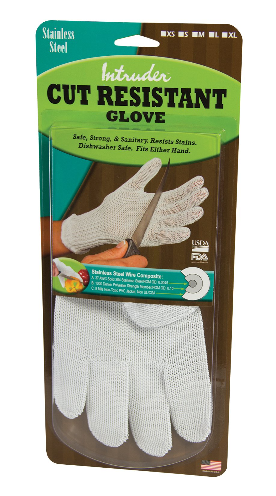 Intruder 15003 Resistant Mesh Cutting Gloves, Made in The USA, Size Medium, White