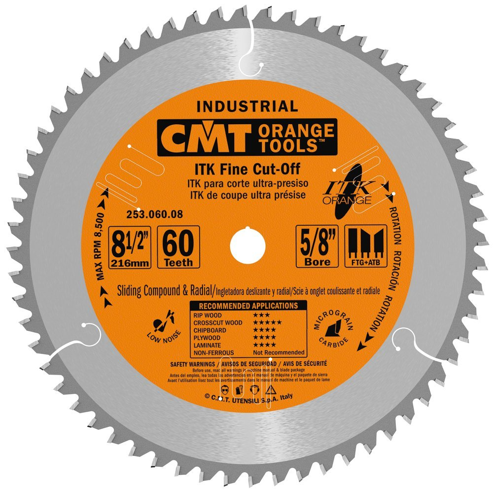 CMT 253.060.08 ITK Industrial Finish Sliding Compound Miter Saw Blade, 8-1/2-Inch x 60 Teeth 1FTG+2ATB Grind with 5/8-Inch Bore by CMT