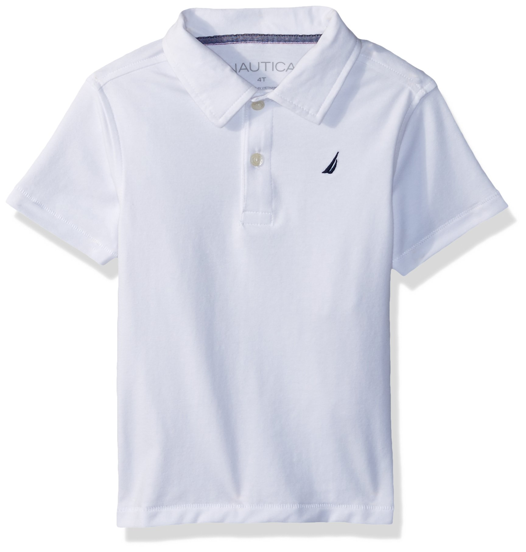 Nautica Toddler Boys' Short Sleeve Solid Deck Stretch Polo, Ruddy White, 4T