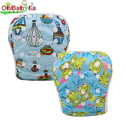 ohbabyka bebé reutilizable gamuza de natación Pañales pantalones de cubierta de la piscina, un tamaño