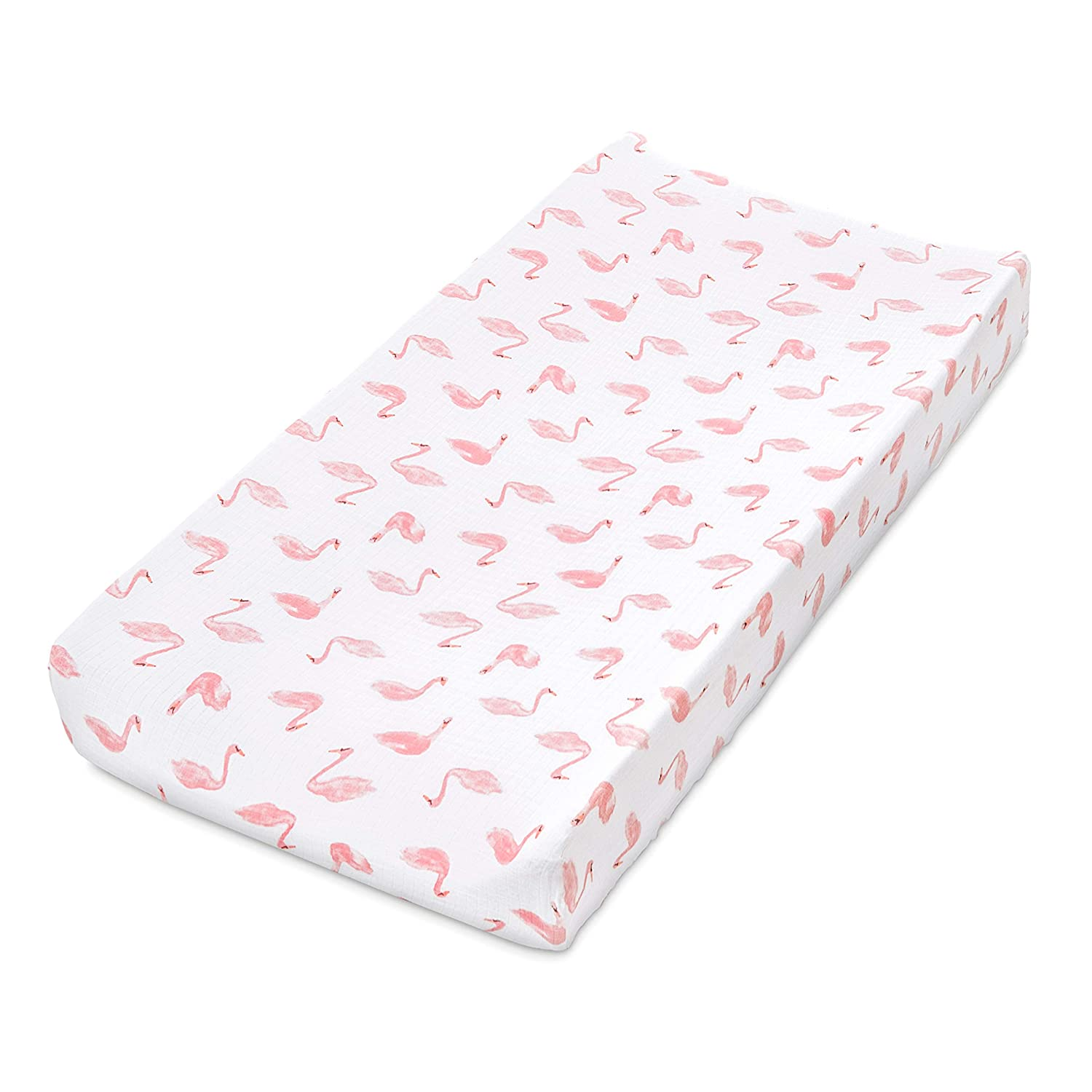 aden by aden + anais Classic Changing Pad Cover, 100% Cotton Muslin, Super Soft, Breathable, Tailored Snug Fit, Single, Briar Rose - Swans