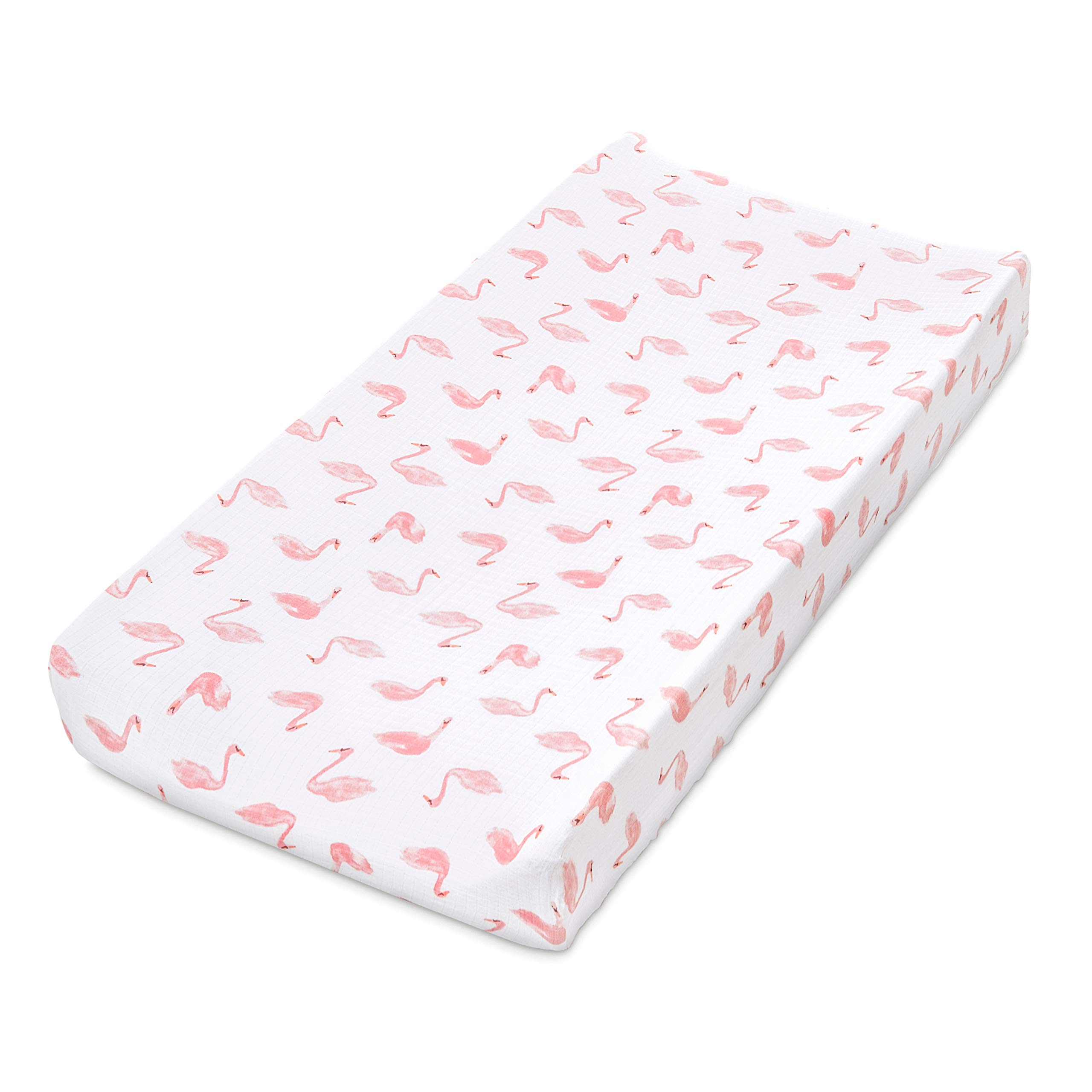 aden by aden + anais Classic Changing Pad Cover, 100% Cotton Muslin, Super Soft, Breathable, Tailored Snug Fit, Single, Briar Rose - Swans by aden by aden + anais