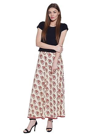 b81654739d ShalinIndia Women's Cotton Long Maxi Gypsy Skirt (White-Red, Large ...